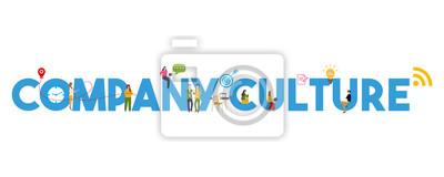 Sticker Company Culture concept of corporate core values employee motivation.
