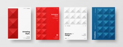 Sticker Company identity brochure template collection. Business presentation vector A4 vertical orientation front page mock up set. Corporate report cover abstract geometric illustration design layout bundle.