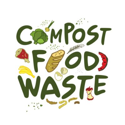 Compost food waste handwritten phrase with food elements. Eco-friendly concept of zero waste. Message about conscious consumption, sustainable living for blogs, magazines, posters. Vector illustration