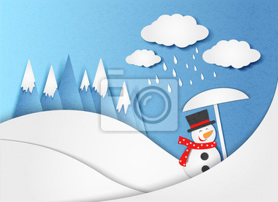 Conceptual vector illustration in minimal style - a snowman with an umbrella in the rain. Security and safety concept. Paper cut style