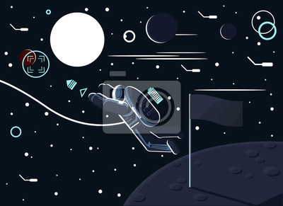 Conceptual vector illustration of an astronaut who left a flag on the moon or another planet and flew to Mars.