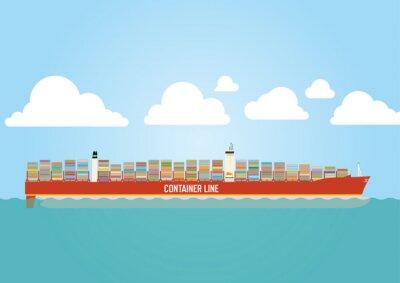 Sticker Containerschiff geladen mit Fracht