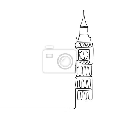 Continuous line drawing of London City of Westminster Big Ben clock tower