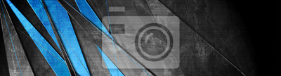 Sticker Contrast blue and grey stripes. Abstract grunge tech banner design. Old wall concrete texture background. Vector illustration