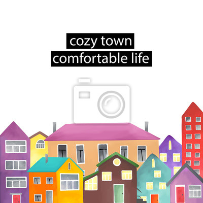 Copyspace frame with the different houses.