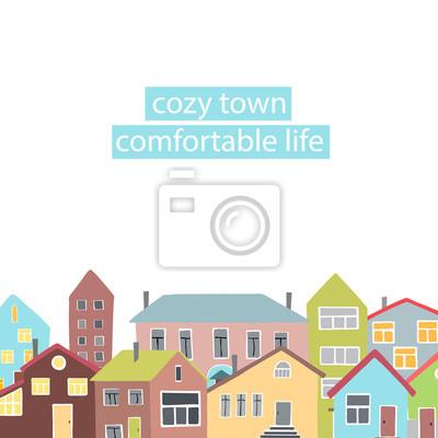 Copyspace Rahmen mit den verschiedenen Häusern.