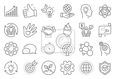 Sticker Core values line icons. Integrity, Target purpose and Strategy. Trust handshake, social responsibility, commitment goal icons. Growth chart, innovation, core values network. Line signs set. Vector