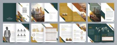 Sticker Corporate business presentation guide brochure template, Annual report, 16 page minimalist flat geometric business brochure design template, A4 size.