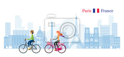 Couple Cycling with Paris France Skyline Background