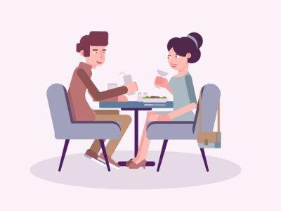 Couple in restaurant flat vector illustration