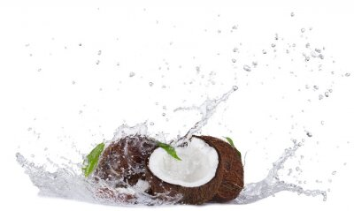 Sticker Cracked Kokosnuss in Wasser Splash auf weißem
