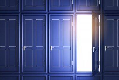 Creative blue doors to success