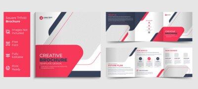 Sticker Creative business square trifold brochure template design