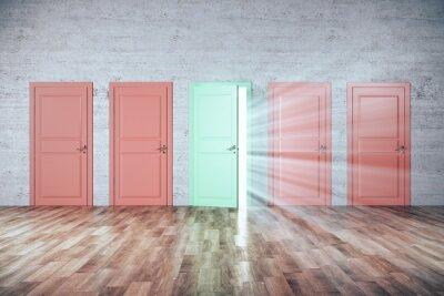 Creative colors doors to success in brick room.