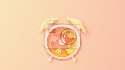 Creative design for Alarm clock with sea view in the evening sunset. Alarm clock design for Sea in Summer. paper cut and craft style. vector, illustration.