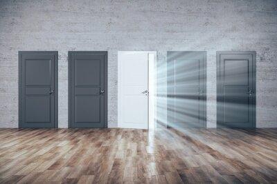 Creative doors to success in brick room.