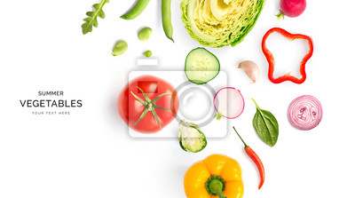 Sticker Creative layout made of summer vegetables. Food concept. Tomatoes, onion, cucumber, green peas, garlic, cabbage, chilly pepper, yellow pepper, salad leaves and radish on white background.