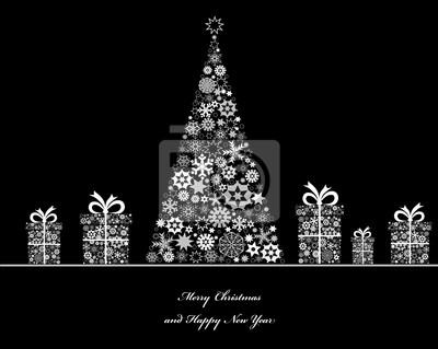 Crisrmass Baum mit cristmass Geschenk-Boxen. Vector