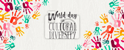 Sticker Cultural Diversity Day banner of color human hands