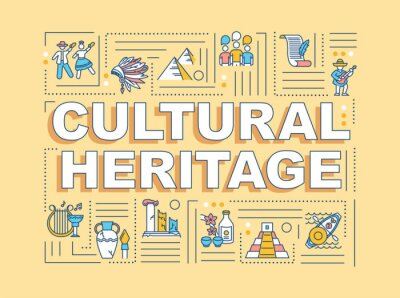 Sticker Cultural heritage word concepts banner. Historical artifact, custom tradition. Infographics with linear icons on orange background. Isolated typography. Vector outline RGB color illustration