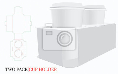 Cup Holder, Coffee Cup Holder Illustration. Two Pack Cup Holder. Vector with die cut /laser cut layers. White, clear, blank, isolated Cup Holder on white background. Packaging Design, 3D