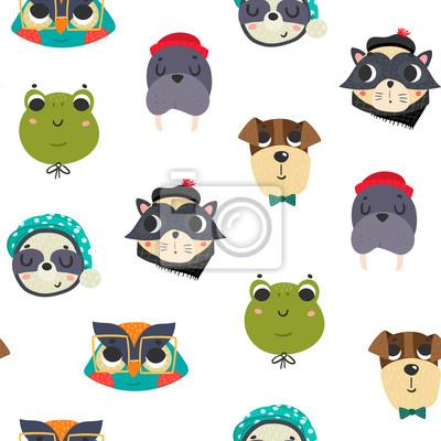 Cute animal avatars. Colored vector seamless pattern