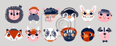 Cute animal faces. Big colored vector set. All elements are isolated