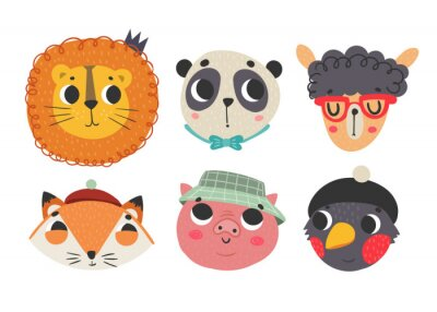 Cute animal faces. Colored vector set. All elements are isolated