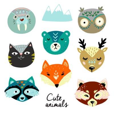 Sticker Cute animals faces. Hand drawn baby design