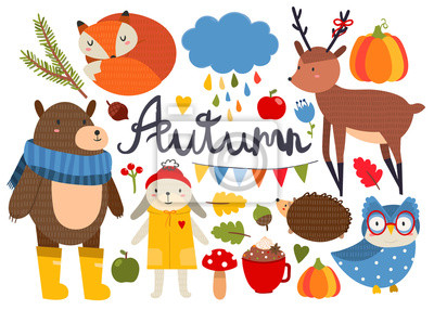 Cute autumn animals and various objects. Colored vector set. All elements are isolated