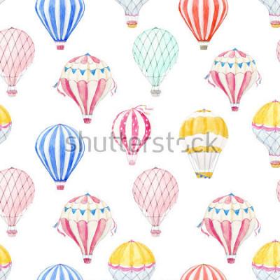 Sticker Cute balloon watercolor pattern.  aerostat