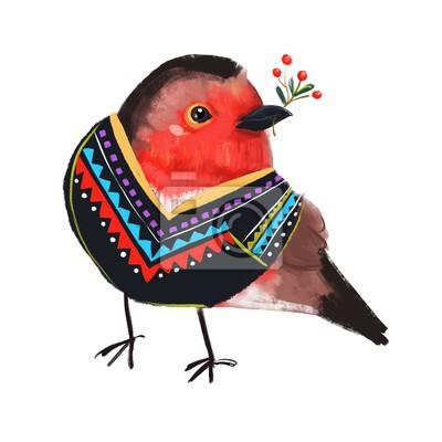 Cute bird in sweater. Hand drawn illustration