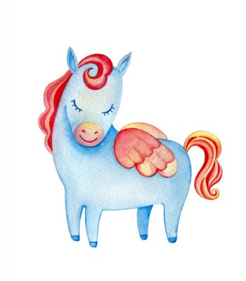 Cute blue pegasus. Watercolor illustration isolated on white.