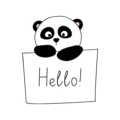 Sticker Cute Cartoon Panda isoliert auf weiß