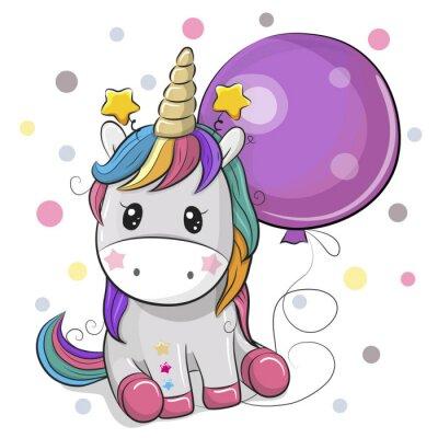 Sticker Cute Cartoon Unicorn with Balloon