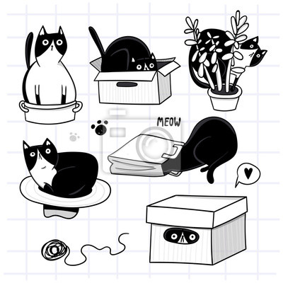 Cute cat hiding in various objects. Hand drawn vector set. All elements are isolated