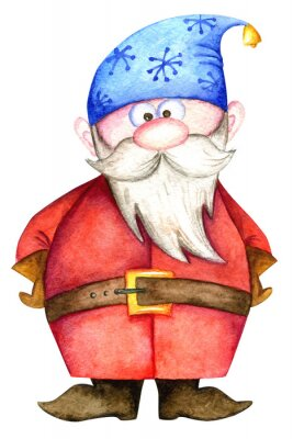 Cute christmas dwarf with white beard and blue hat. Watercolor illustration isolated on white background. Perfect for cards, patterns, invitations, wrapping, wallpaper