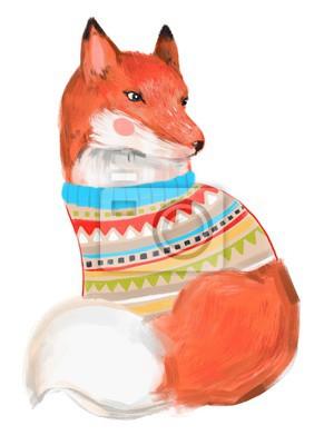 Cute fox in sweater. Hand drawn illustration