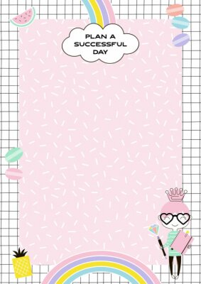 Cute Girlish Daily Planner with little pricess, rainbow, sweets on memphis background.