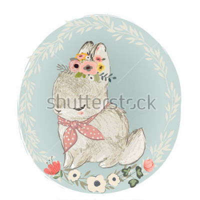 Sticker Cute Hare with Floral Wreath