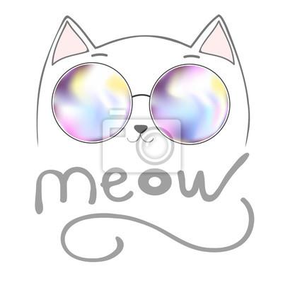 Cute katze mit beschriftung - meow, grafik illustration vektor, drucken, tier