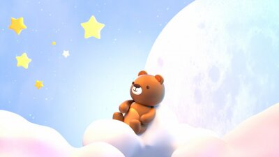 Sticker Cute little bear sitting on soft pastel clouds and watching beautiful night sky with stars in front of the white full moon. 3d rendering picture.