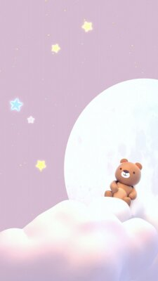 Sticker Cute little bear watching beautiful night sky with stars in front of the white full moon. 3d rendering picture. (Vertical)