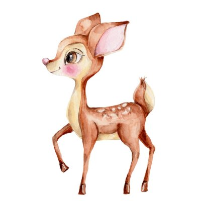 Sticker Cute little deer; watercolor hand draw illustration; with white isolated background
