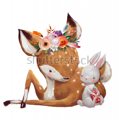 Sticker cute little hare with little deer