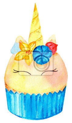 Cute magic unicorn cake in blue form. Watercolor illustration. Isolated on a white background.