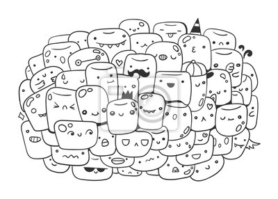 Cute marshmallow monsters. Doodle coloring page. Hand drawn vector illustration