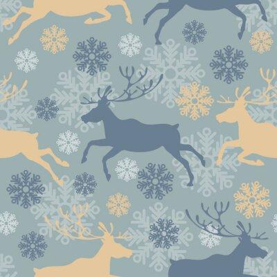 Sticker Cute Merry Christmas nahtlose Muster mit Rentieren und Schneeflocken. Jahrgang Vektor-Illustration.