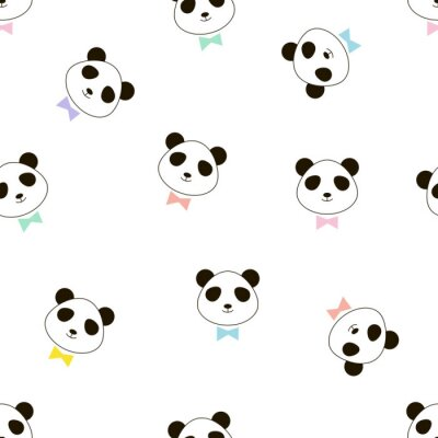 Cute panda head with colourful tie bow seamless vector pattern, print for kids and nursery fabric, t-shirt, pajamas and more