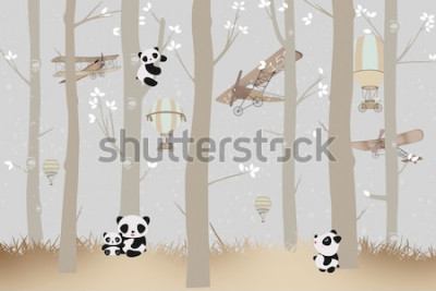 Sticker cute pandas playing in the forest wallpaper